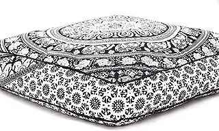 RADHY KRISHNA FASHIONS Indian Mandala Elephant Mandala Floor Pillow Indian Square Ottoman Pouf Large Meditation Pillow Oversized Outdoor Bed 35 x 35x Inch