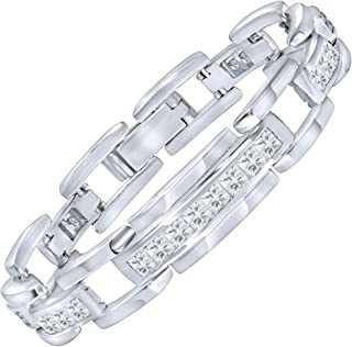 Men's Elegant Sterling Silver .925 Bracelet with Channel-Set Simulated Diamond Princess-Cut Cubic Zirconia (CZ) Stones, Secure Box Lock, Platinum Plated. Available in sizes 8
