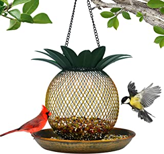 Vintage Pineapple Top Fill Mesh Solar Bird Feeder for Outdoors Hanging Wild Metal Bird Feeders Squirrel Proof, Easy to Cle...