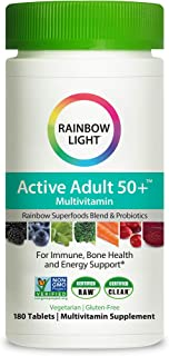 Rainbow Light Active Adult 50+ Non-GMO Project Verified Multivitamin, Plus Superfoods & Probiotics, 180 Tablets (Package M...