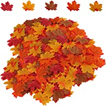 HENMI 500PCS Artificial Maple Leaves 5 Assorted Mixed Fake Fall Maple Leaf Lifelike Looking Silk Autumn Leaf Garland for Halloween Fall Decor Party Festival Thanksgiving Table Decorations