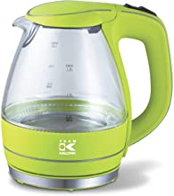 Team Kalorik elektrische glazen waterkoker, 1,5 liter, 2200 W, kalk- en deeltjesfilter, appelgroen, TKG JK 1022 AG