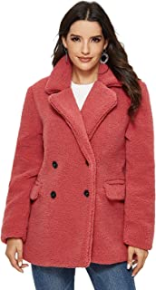 Escalier Women's Faux Shearling Coat Warm Winter Long Sleeve Lapel Fluffy Fur Outwear