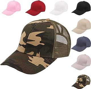 Bocianelli NeuFashion Ponycap Messy High Bun Ponytail Adjustable Mesh Trucker Baseball Cap Hat for Women…