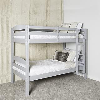 WE Furniture AZWSTOTGY Classic Wood Twin Bunk Kids Bed Bedroom, Gray
