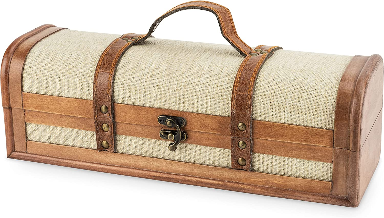 Twine Outlet SALE 1-Bottle Vintage Branded goods Striped Trunk Decorative Wine Brow Boxes
