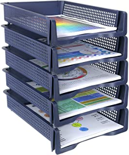 Zilpoo 5 Tier - Plastic Desk Letter Organizer Trays, Stackable Office Desktop Document Paper Storage, Front Load File Holder, Portrait