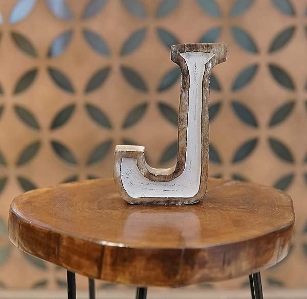 DECORINY Kapako Free Standing White Filled Block J Decorative Letter