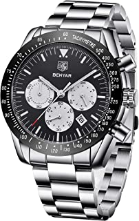 BENYAR Mens Watch Fashion Chronograph Quartz Movement Waterproof 30M Elegant Gift for Men