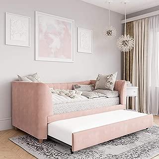 Little Seeds Valentina Upholstered Trundle, Twin Size, Pink Velvet Daybed,