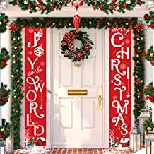 Whaline Christmas Porch Sign, Joy to The World and Merry Christmas Hanging Banners for Holiday Home Indoor Outdoor Porch Wall Christmas Decoration (Red)