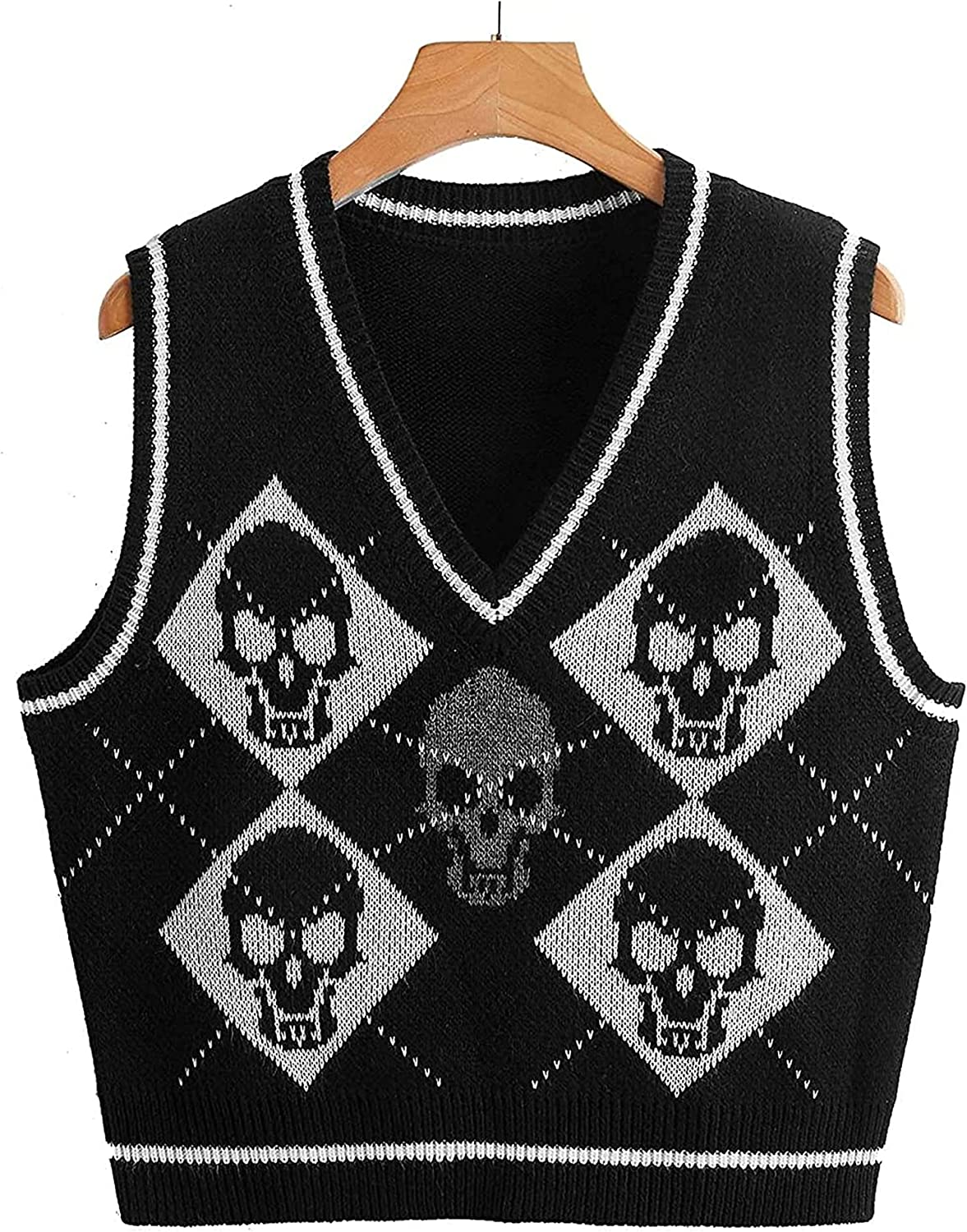 Women Y2K Argyle Skull Knit Sweater Vest Loose V Neck Sleeveless Gothic Cropped Tank Top Streetwear Pullover