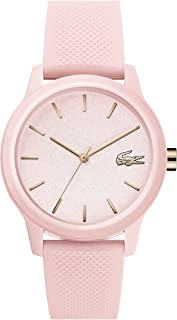 TR90 Quartz Watch with Rubber Strap, Pink, 17 (Model: 2001065)