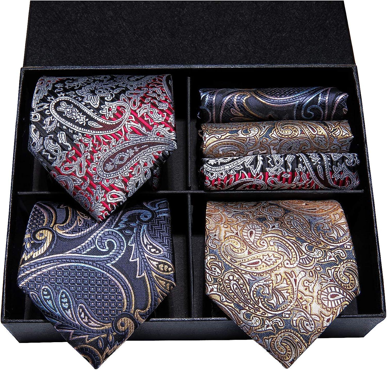 Hi-Tie 3 Pcs Mens Tie Set in Gift Box Necktie with Pocket Square and Cufflinks Silk Neck Tie Collection