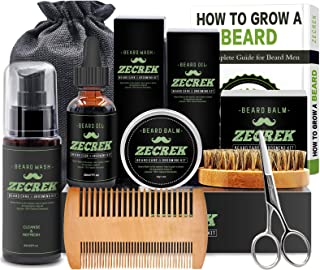 Premium Beard Grooming & Growth Kit w/Beard Oil,Beard Wash/Shampoo,Beard Balm,Beard Comb,Beard Brush,Beard Scissor,Storage Bag,Gifts for Men Him Dad
