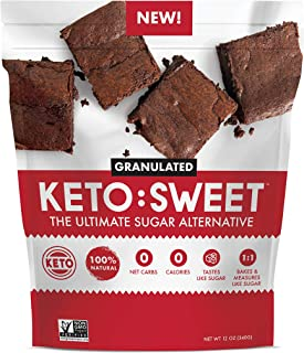 KETO:SWEET Ultimate Keto Sugar Alternative, 100% Natural Erythritol - Granulated In Resealable Bag (12 Ounce)