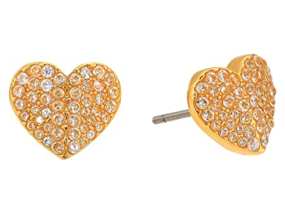 Kate Spade New York Heart To Heart Pave Small Heart Studs Earrings (Clear/Gold) Earring