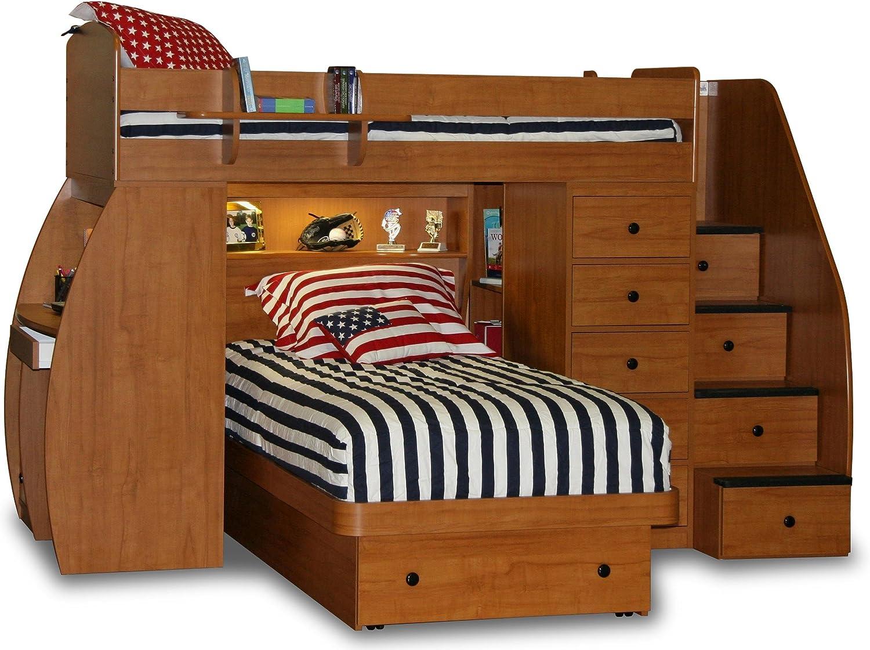 Berg Furniture Sierra Space Saver Twin Over Twin Loft Bed With Desk Furniture Decor Amazon Com