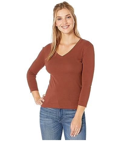 XCVI Essentials Ioda Long Sleeve V-Neck 1x1 Rib Tee (Sumac Pigment) Women