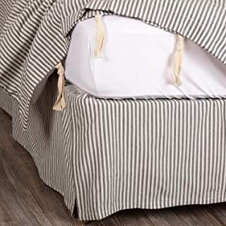 Piper Classics Farmhouse Ticking Gray Stripe King Bed Skirt w/ 16