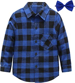 Kids Long Sleeve Boy's Plaid Flannel Button Down Shirt 2T-12
