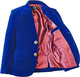 YuanLu Boys Single-Breasted Velvet Blazer,Royal Blue/Black/Burgundy/Red