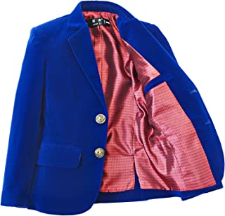 YuanLu Boys Single-Breasted Velvet Blazer,Royal Blue/Black/Burgundy/Red