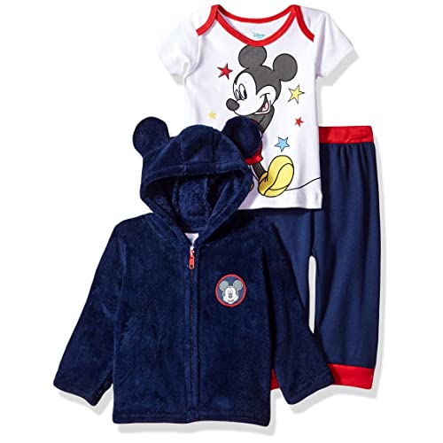 e22f01a4a Disney Baby Boys' Mickey Mouse 3 Piece Hoodie, Bodysuit Or T-Shirt,