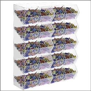 Avà srl Boîte à Bonbons en Acrylique Transparent sans Couvercle 20 Compartiments - Dimensions : 65x25x H86 cm