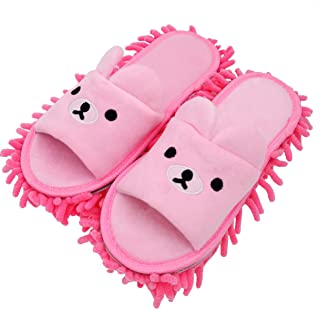 Selric Bear Image Super Chenille Microfiber Washable Mop Slippers Shoes for Women, Floor Dust Dirt Hair Cleaner, Multi-sizes Multi-Colors Available 9 7/9 Inches Size:5.5-8.5.