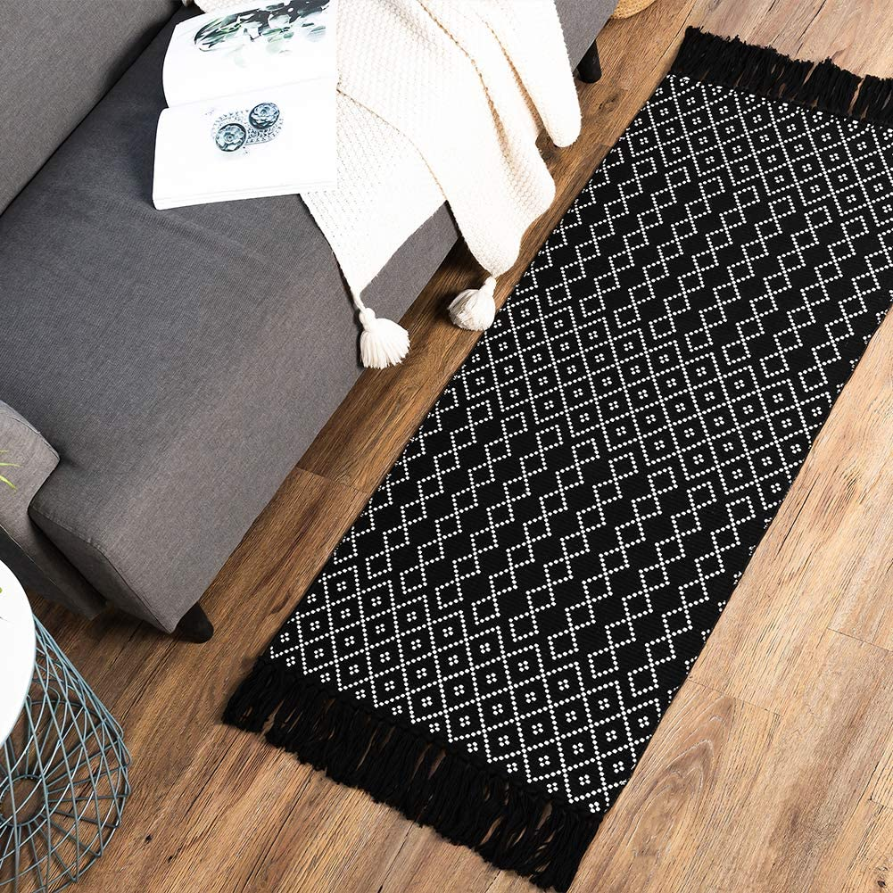 Black Boho Kitchen Bathroom Rug, Small Tassels Bohemian Bath Mat, Woven  Accent Vintage Geometric Floor Reversible Chic Doormat Entry Hallway Porch  ...
