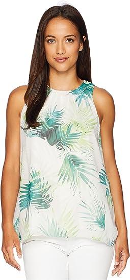 Petite Sleeveless Sunlit Palm Blouse