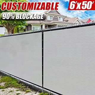 Amgo 6' x 50' Grey Fence Privacy Screen Windscreen,with Bindings & Grommets, Heavy Duty for Commercial and Residential, 90% Blockage, Cable Zip Ties Included, (Available for Custom Sizes)