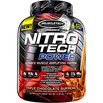 NitroTech Power 100% Whey Protein Powder with Whey Isolate, Ultimate Muscle Building Protein Blend, Triple Chocolate Supreme, 40 Servings (4lbs)