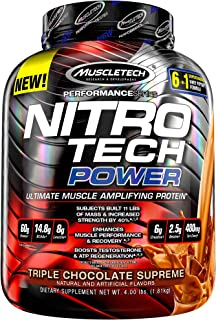 Protein Powder + Creatine Monohydrate + Testosterone Booster for Men | MuscleTech Nitro-Tech Power | Whey Protein Powder |...