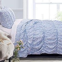 Greenland Home Helena Ruffle Comforter Set, Twin, Blue