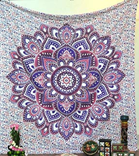 Jaipur Handloom Mandala Hippie Bohemian Tapestries Wall Hanging Flower Psychedelic Tapestry Wall Hanging Indian Dorm Decor for Living Room Bedroom Pink & Purple Floral Tapestry with Medallion Print