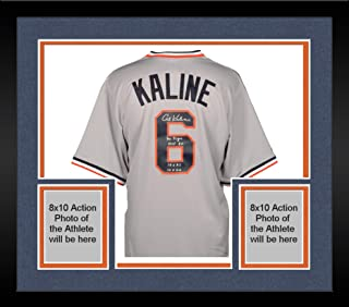 Framed Al Kaline Detroit Tigers Autographed Gray Majestic Replica Jersey with Multiple Inscriptions - Fanatics Authentic Certified