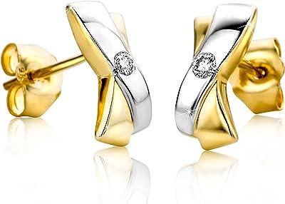 Orovi Set di orecchini da donna in oro bianco e giallo 9 carati (375), brillanti 0,05 carati