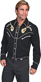 Scully Men's Rock N Roll Guitar Embroidered Retro Western Shirt Big and Tall - P-665X Blk