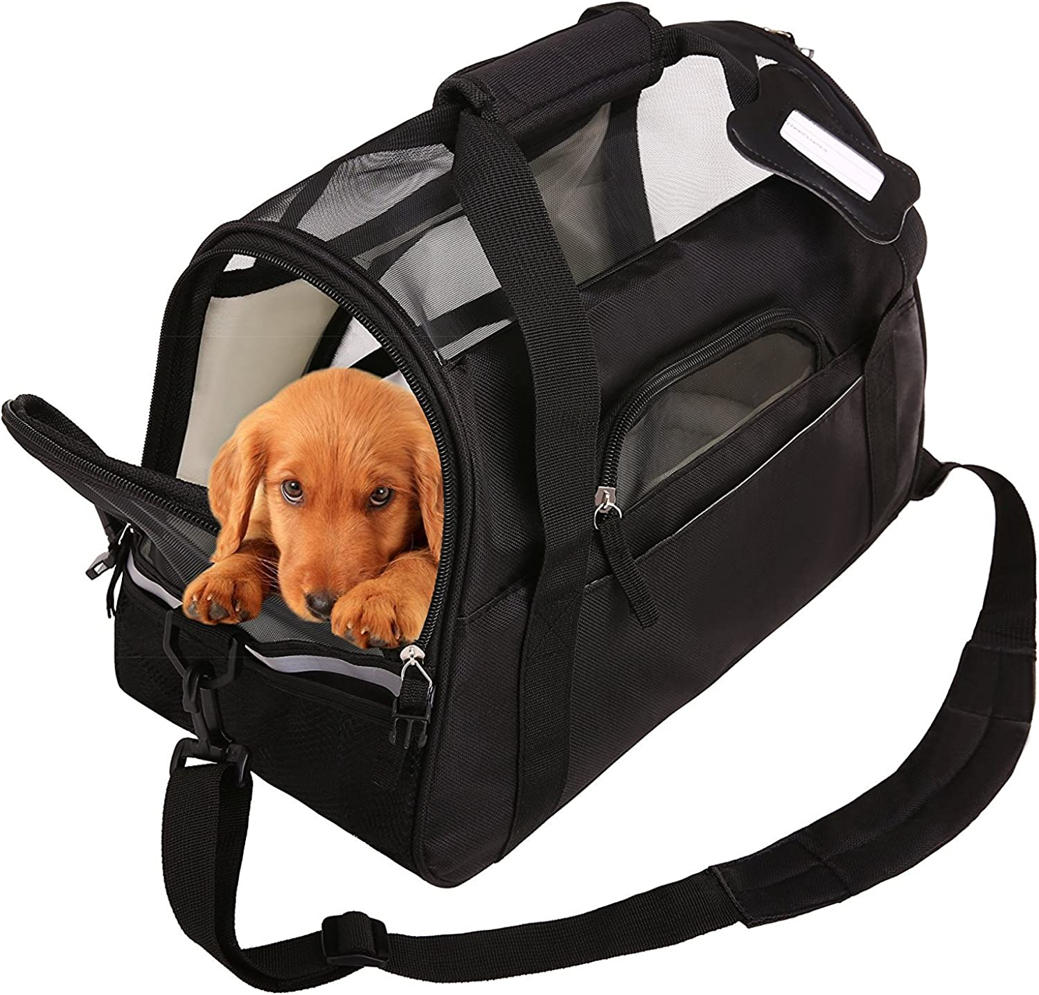 SAWMONG Portable Pet Carrier Airline Approved Ventilated Comfortable Soft Sided Bag Home Dogs Cats Puppies