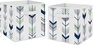 Navy Blue and Mint Woodland Mod Arrow Foldable Fabric Storage Cube Bins Boxes Organizer Toys Kids Baby Childrens for Collection by Sweet Jojo Designs - Set of 2