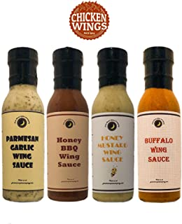 Premium   Chicken WING SAUCE   Variety 4 Pack   TOP SELLERS   Buffalo Wing Sauce   Honey Mustard Wing Sauce   Parmesan Garlic Wing Sauce   Honey BBQ Wing Sauce