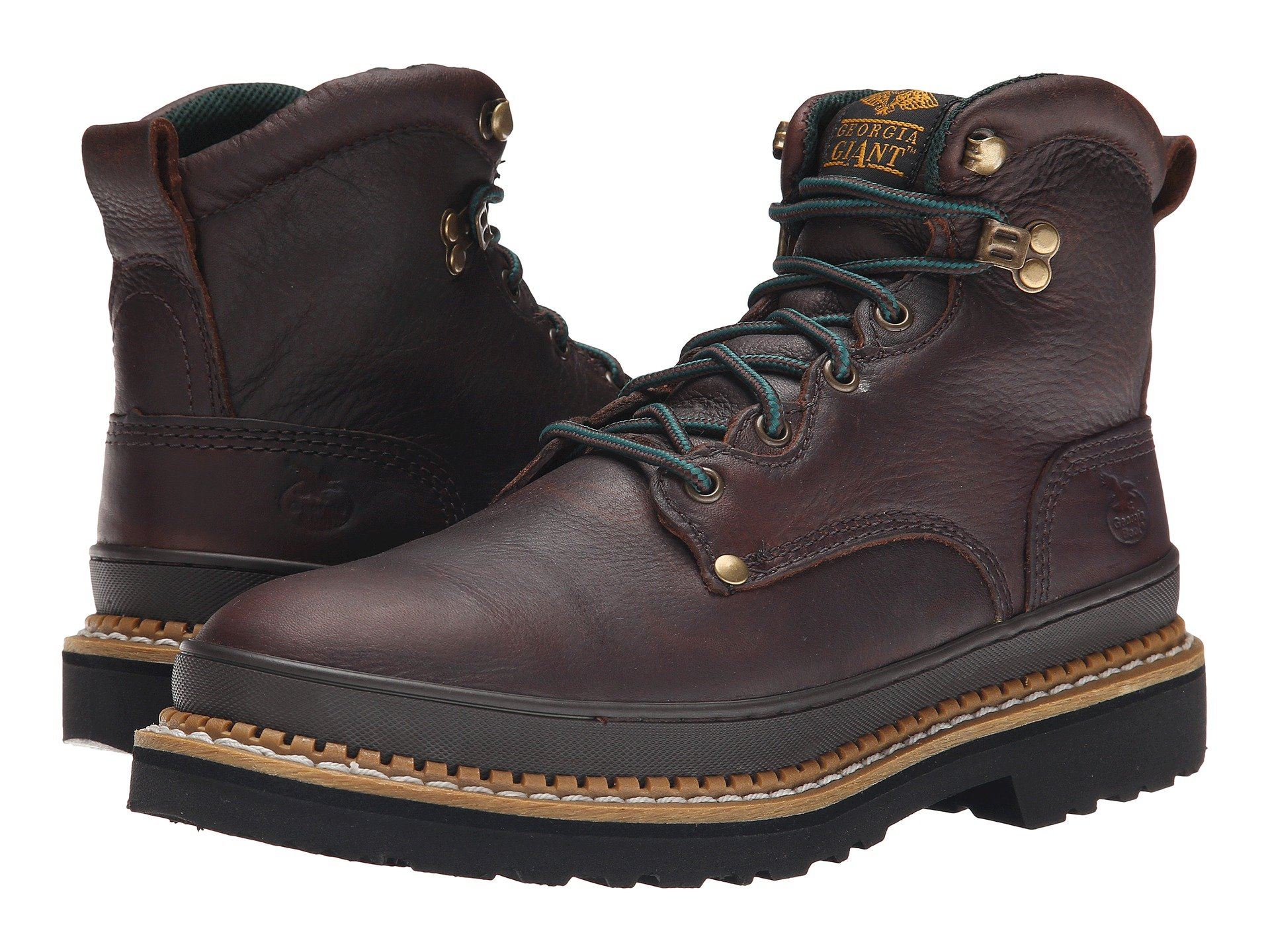 Georgia Mens Brown Leather Waterproof Welly Work Boots.