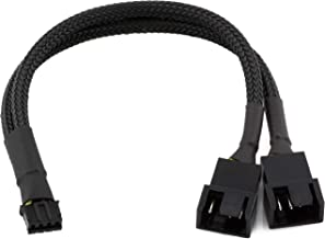 CRJ 4-Pin PWM GPU Dual Fan Splitter Adapter Cable All Black Sleeved for Graphics Cards