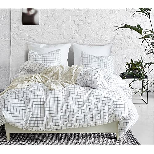 SANMADROLA Modern Mini Black And White Grid Plaid Checkered Pattern 3 Piece  Whtie Duvet Cover Sets