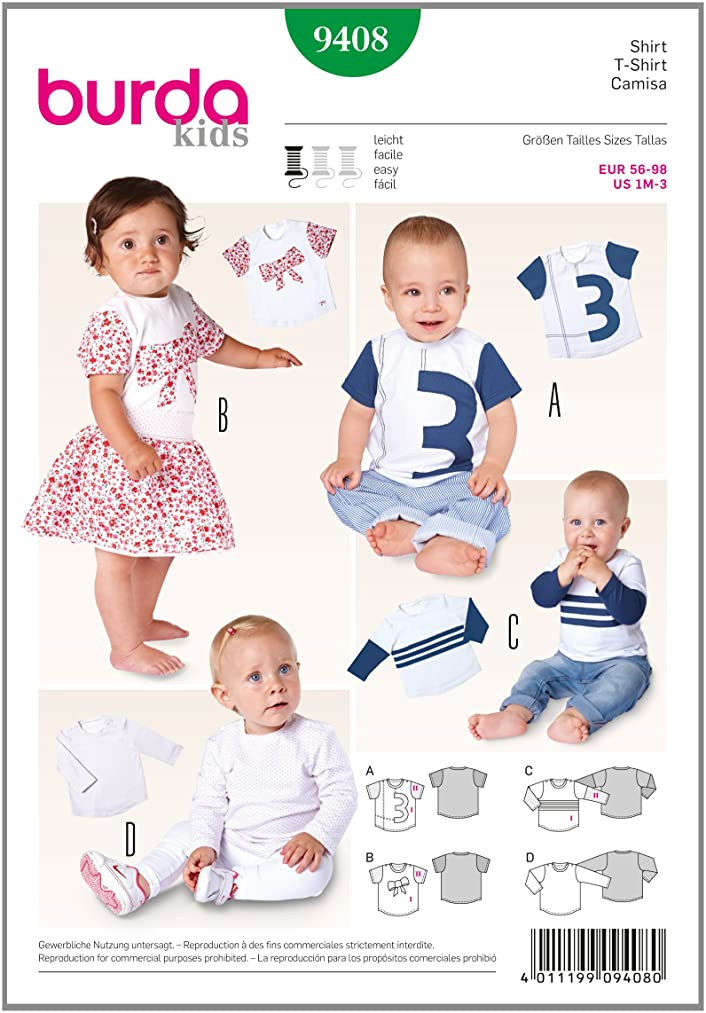 Burda Kids Easy T-shirt Sewing Pattern 9408