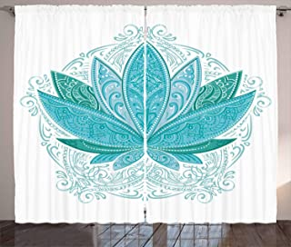 """Ambesonne Lotus Curtains, Lotus Flower with Ornaments Exotic Petals Mehndi Traditional Boho Design, Living Room Bedroom Window Drapes 2 Panel Set, 108"""" X 108"""", Sky Blue"""