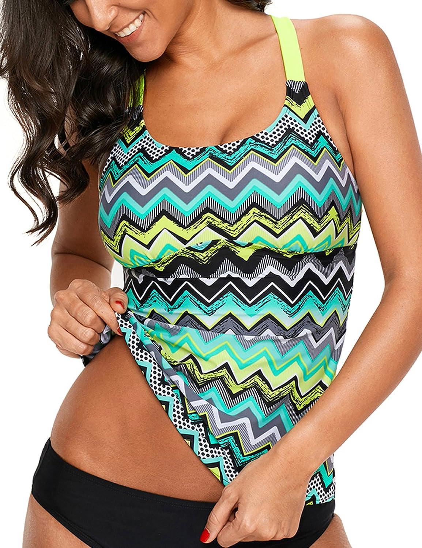 CICIDES Womens Striped Print Racerback Tankini Swim Top (SXXXL)