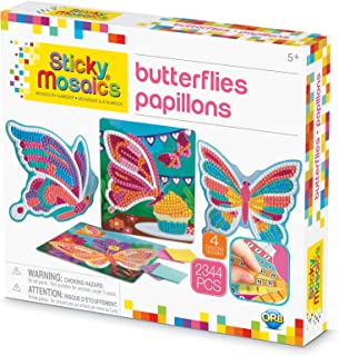 ORB The Factory Sticky Mosaics Butterflies Arts & Crafts, Yellow/Blue/Pink/Purple/Pink, 12